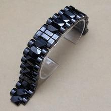 Мужчин размер 19 мм луг 10 мм новый высокое качество черный керамические часы группа ремешок браслет развертывания стали застежка для часы с бриллиантами