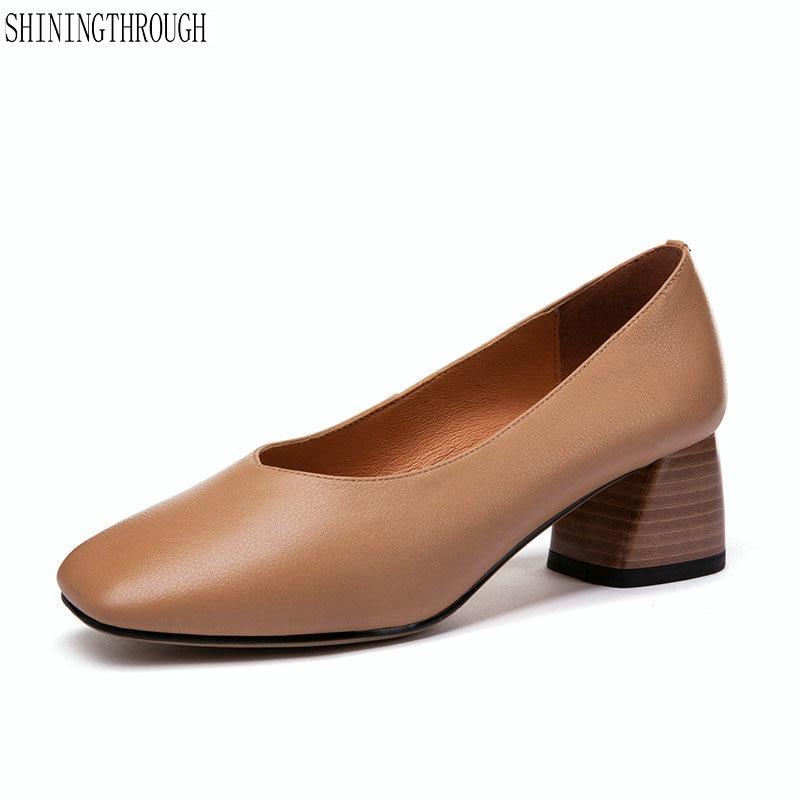 Woman Shoes Spring Autumn Leather Low Heels Women Pumps Women Office Shoes Women s Footwear High