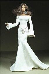 Niestandardowe 1/6 skala biała róża długa sukienka z dwoma rękawami przeciąganie spódnica dla 12 cali figurka Phicen JIAOUL kolekcje zabawka