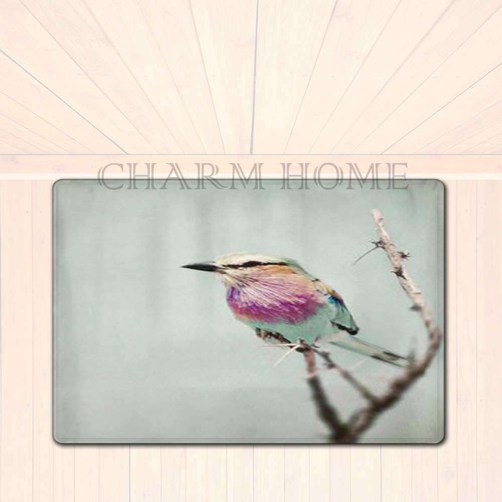 CHARM HOME Nature Trees Birds Printed Bed font b Side b font Floor Mat font b