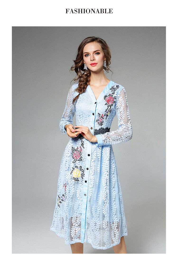 Sky Blue V-neck Floral Embroidered Lace Dress Autumn Dresses Women 2018 Vestido De Festa Hollow Out Christmas Dress K945180 11