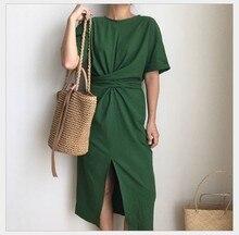 LANMREM 2020 Summer  New Solid Color Loose Round Neck Natural Waist Vintage Split The Fork Fashion Women Dress E4100