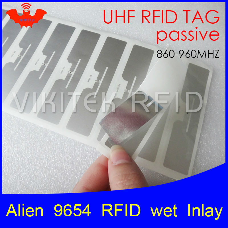 UHF RFID tag sticker Alien 9654 wet inlay 915mhz 900 868mhz 860-960MHZ Higgs3 EPCC1G2 6C smart adhesive passive RFID tags label rfid tire patch tag label long range surface adhesive paste rubber alien h3 uhf tire tag for vehicle access control