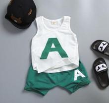 Kids Clothes Set 2019 Summer Baby Girl Boys Suits Cotton Vest+shorts 2 Pcs Set High Qulity Toddler Infant Clothing SY-F172243