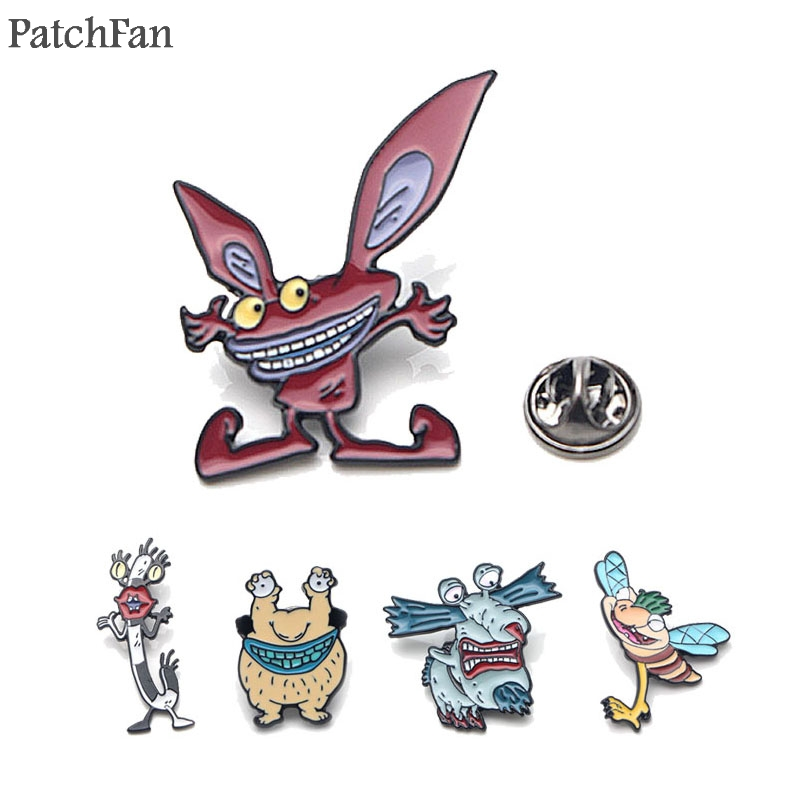 Patchfan AHHH! Real monsters! Zimbo Krumm Gromble tie Pins backpack clothes brooches for men women decoration badges medal A1327