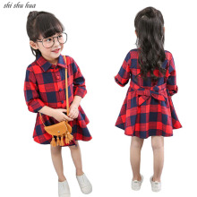 Spring Autumn Kids Wear Girl Tops Jacket 2018 New Child Plaid Shirt Fashion Female Baby Long Sleeve Clothes 2-7 Y Child Clothing купить недорого в Москве