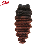 Sleek Natural Deep Wave Brazilian Hair Extensions Color #T1B/33 And #T1B/Blue Weft Remy Human Hair Weave Bundles Free Shipping
