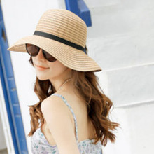Korea Women Bowknot Large Brim Straw UA Protection Dome Hat Summer Panama Cap