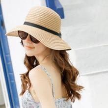 Корея Женщины Bowknot Большой Брим Соломенная UA Защиты Купол Шляпа Лето Панама Cap