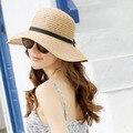 Mulheres coreia Bowknot Proteção UA Grande Aba do chapéu de Palha Panamá Cap Cúpula Chapéu de Verão