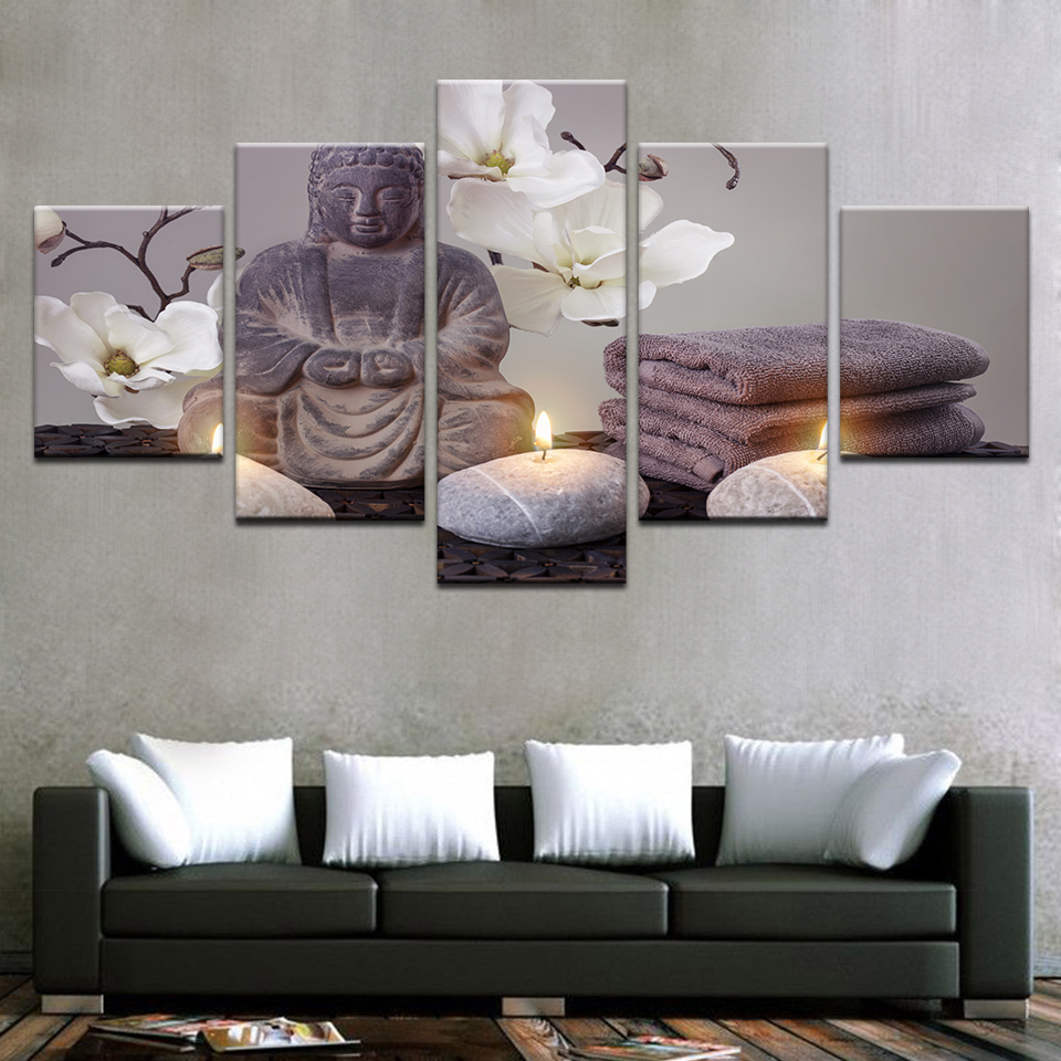 HD Print Canvas Modular Framework 5 Panel Buddha Wall Art Painting Popular White Flower Picture For Living Room Decor Poster