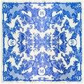 Diseñador de la Bufanda de Las Mujeres de Alta Calidad de la Marca de Lujo Porcelana Azul Y Blanca Floral Chal Pashmina 90 CM Cuadrados Bufandas de Seda Imitado