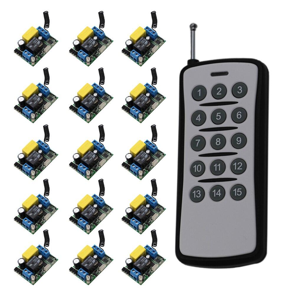220 V 10 Un 15CH Télécommande Sans Fil Commutateur Chaque ch est indépendant d'apprentissage code à bascule/momentané led on off sans fil commutateur