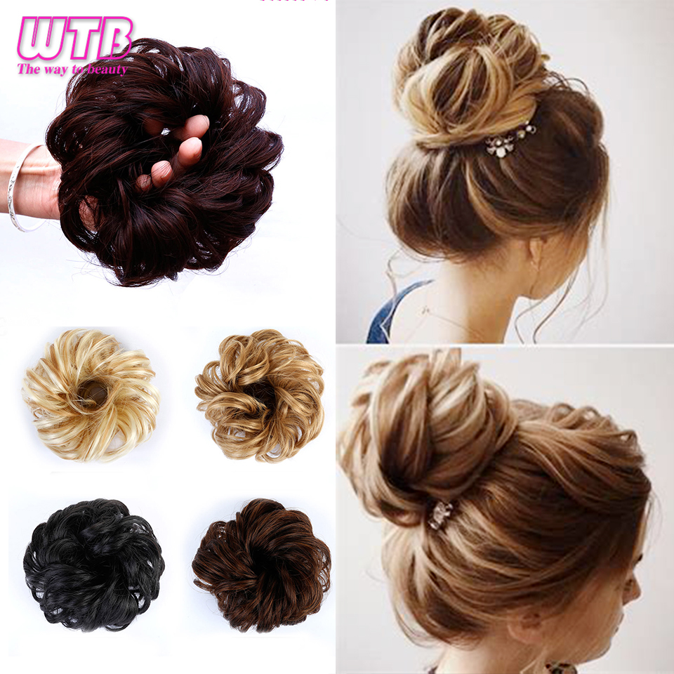 WTB Women Curly Hair Clip In Hairpiece Extensions Bun for Brides 8 Colors Synthetic