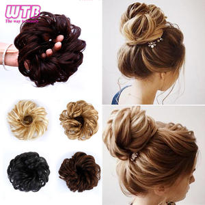 Chignon Hair Bun Hairpiece-Extensions Curly Clip-In High-Temperature-Fiber Synthetic