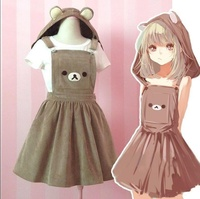 Women's Kawaii Rilakkuma Dress Cute Bear Embroidery Dress Lolita Overall (Detachable Hood)