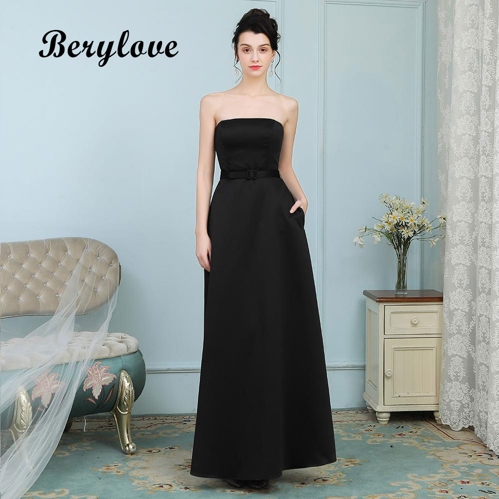 c05687b962de Mouse over to zoom in. BeryLove Simple Black Evening Dresses Long Strapless  Satin ...