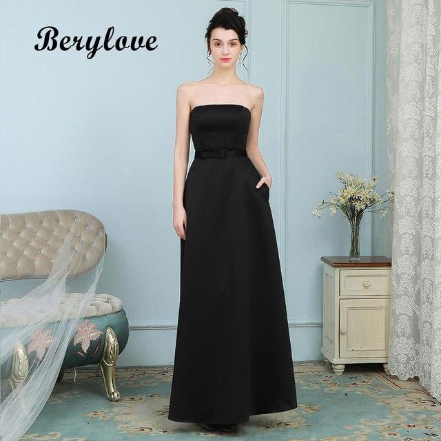 Berylove Simple Black Evening Dresses Long Strapless Satin Prom