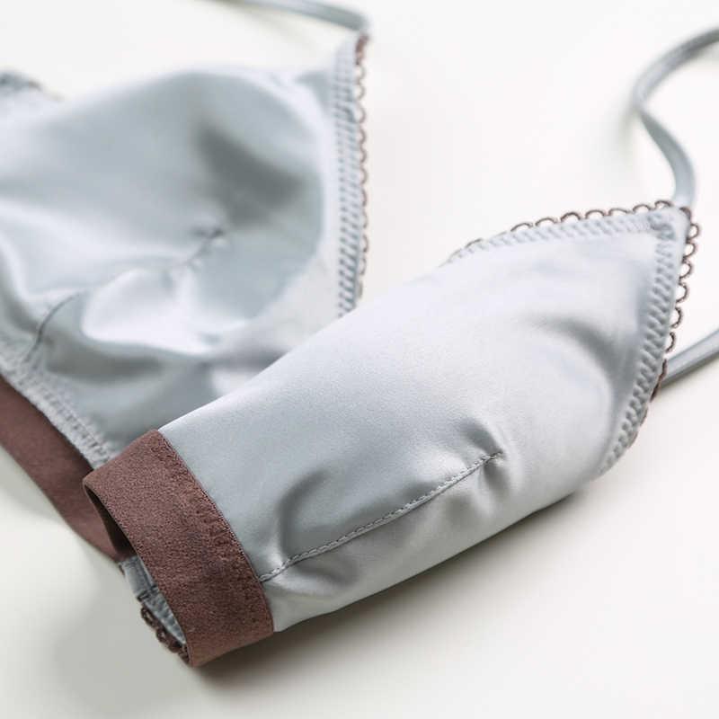 Termezy 新女性下着ワイヤー送料サテンブラジャー薄型 3/4 カップブラジャーとパンティセット中空ランジェリー女性ブラジャー bralette
