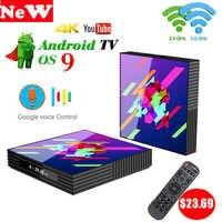 Smart TV BOX A95X Z2+ Android 9.0 RK3318 Quad Core 4GB RAM 64GB 2.4G&5G Wireless WIFI 4K Media Voice Control Set Top Box PK H96