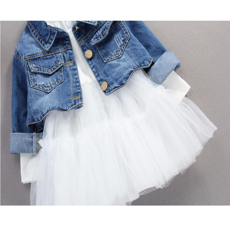 Fall infant Baby Girls clothes outfits casual sets denim jacket + tutu dress suit for newborn baby girls clothing birthday sets