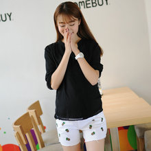 Maternity High Waist Shorts Jeans White Denim Pants Clothes for Pregnant Women Clothing for Pregnancy 2016