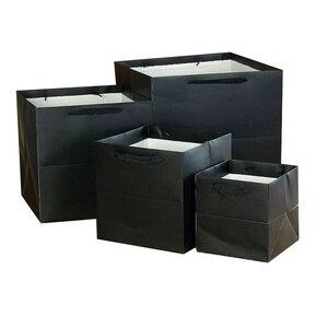 Image 3 - 100 יח\חבילה 4 צבעים כיכר פירות פרחים אריזת שקית נייר עם ידית כיכר תחתון קראפט שקית נייר מתנת תיק 4 גודל