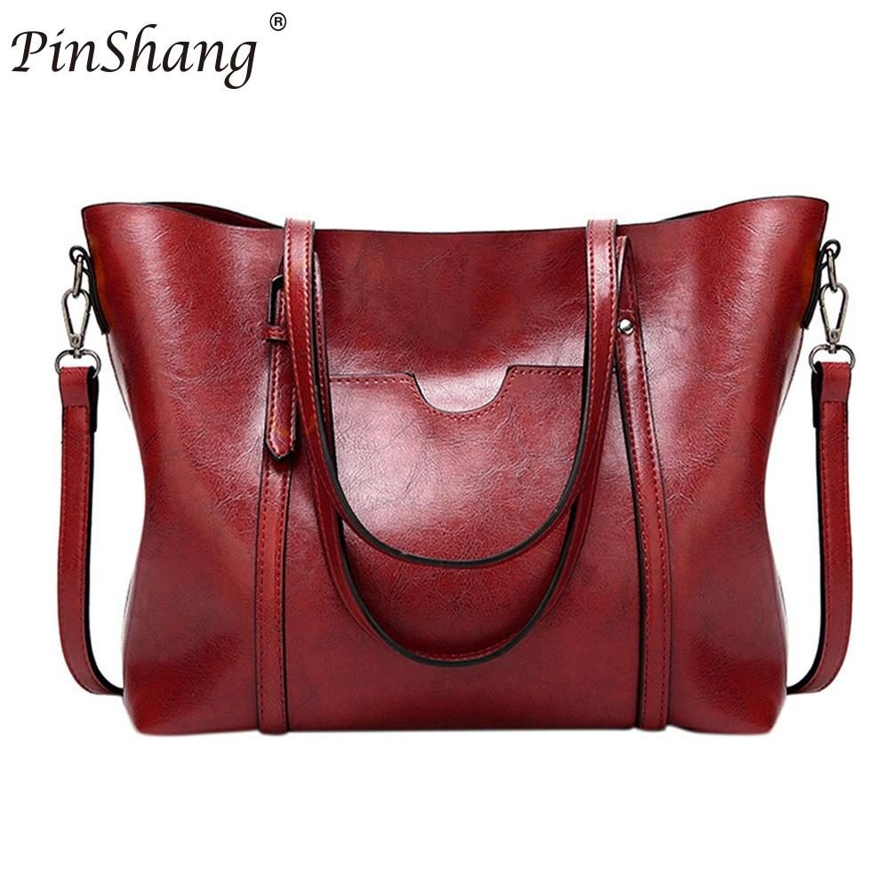 PinShang  PU Leather Bags Bucket Tote Shopping Bags Designer Handbags High Quality Shoulder Crossbody Bags For Women ZK30