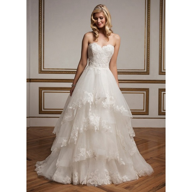 Plus Size Wedding Dresses 2016 Sweetheart Nec A line Tiered Multi ...
