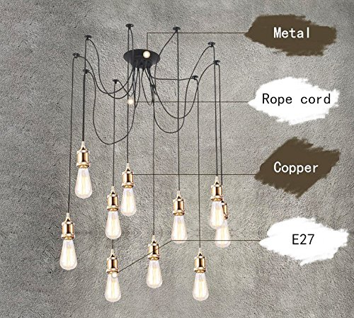 Us 59 16 13 Off Loft E26 E27 Rope Cord Copper Droplight Vintage Net Spider Chandelier Ceiling Lights Creative Bar Fairy Pendant Lamp In