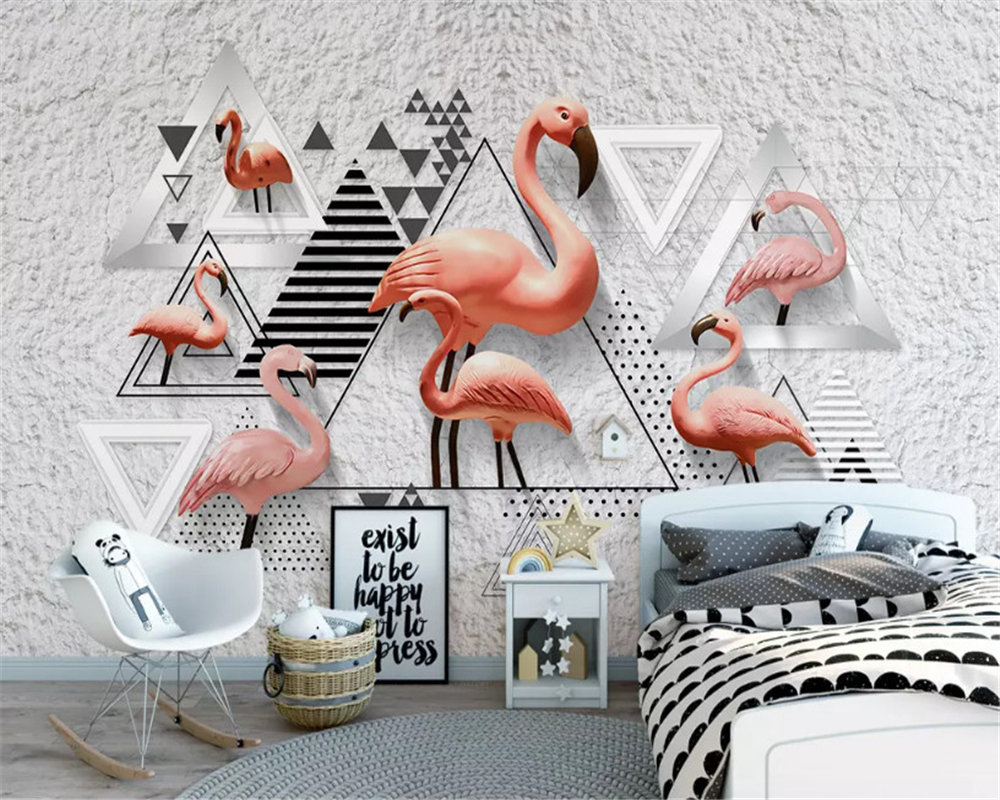 beibehang Nordic classic simple 3D stereo wallpaper black and white geometric flamingo background papel de parede papier peint in Wallpapers from Home Improvement