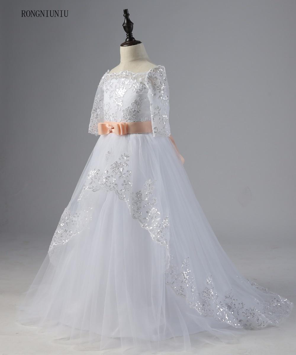 Flori rochie de fata 2017 Lace Up Pinke centura rochie de balet - Rochii de seară de nuntă - Fotografie 3