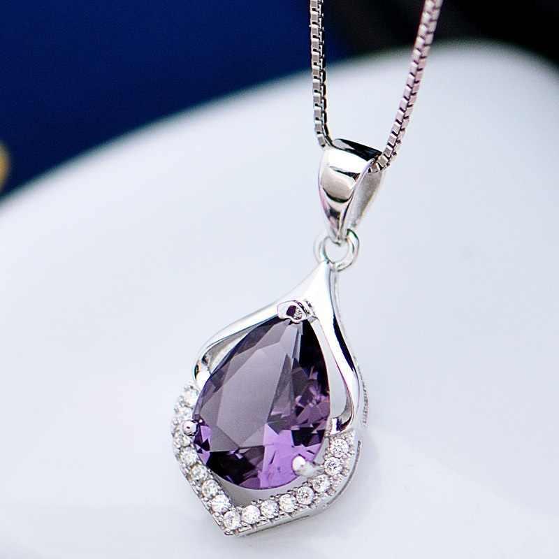 OMHXZJ/оптовая продажа; Европейская мода; женский праздничный свадебный подарок Аметист циркон; ожерелье из стерлингового серебра 925 пробы; подвеска; Шарм; CA88