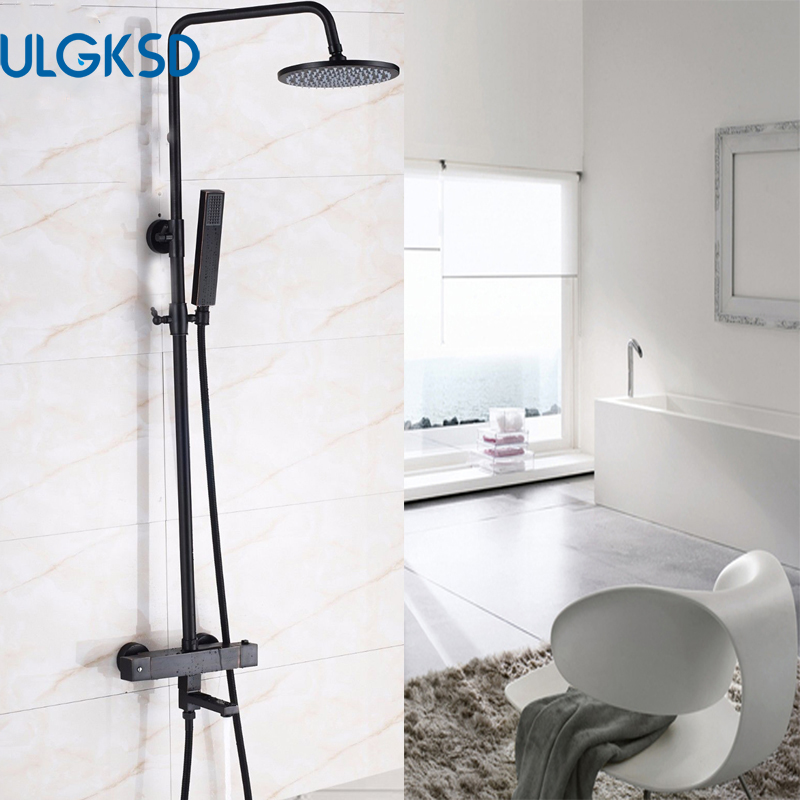 ULGKSD LED 8 Bathroom Thermostatic Shower Faucet Rain Shower Head Tub Filter Black Hand Shower Hot and Cold Water Mixer Taps