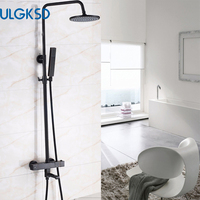 ULGKSD LED 8'' Bathroom Thermostatic Shower Faucet Rain Shower Head Tub Filter Black Hand Shower Hot and Cold Water Mixer Taps