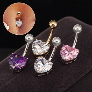 Gussiarro Navel Belly Ring With Heart Pink Purple Cubic Zirconia / White Gold-Color Fashion Piercing Jewelry Body image