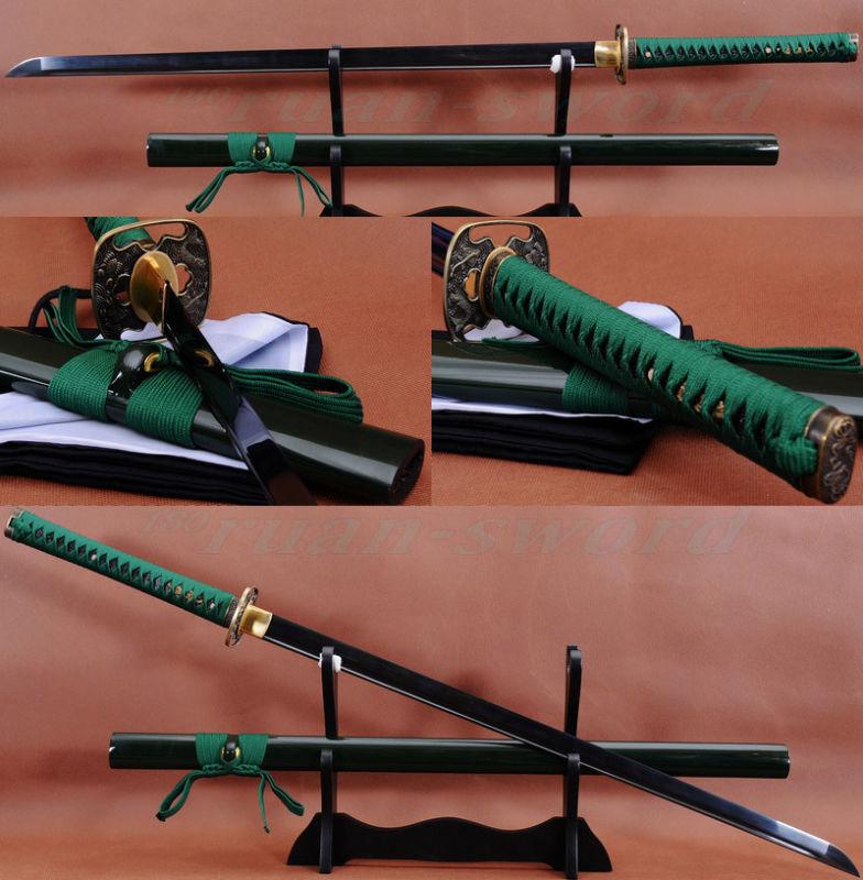 """41 """"fatto A Mano Giapponese Samurai Ninja Spada Nera In Acciaio Completa Di Linguetta Della Lama Tagliente"""