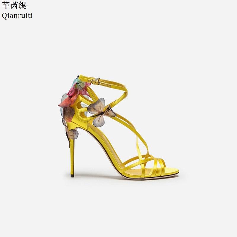 Qianruiti Summer Cross-tied High Heels Shoes Butterfly Appliques Stiletto Heels Women Pumps Ankle Buckle Strap Women Sandals недорго, оригинальная цена
