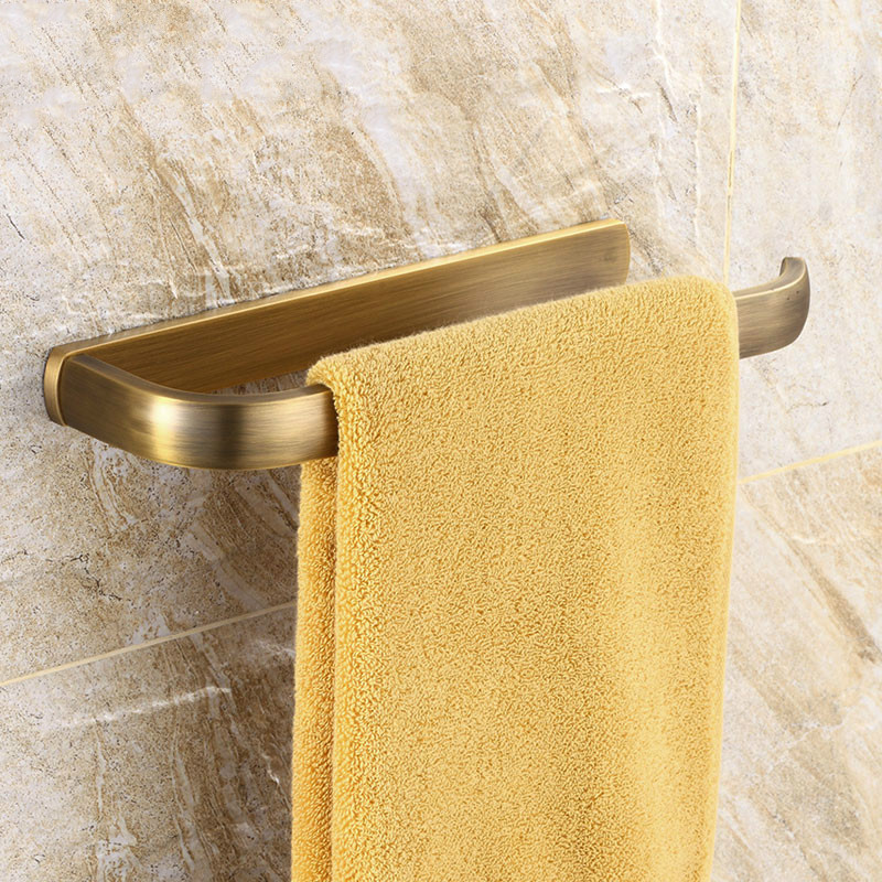 Us 17 1 10 Off Europe Antique Brass Towel Holder Solid Brass Rod Retro Towel Rack Wall Mounted Bathroom Hardware Set Hanging Towel Ring Bronze In