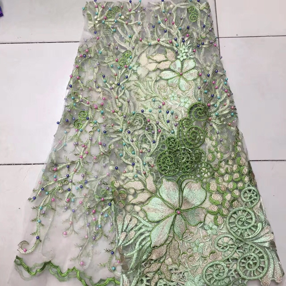 2019 African 3d Fabric Flowerse,Lace Dress High Quality Lace Abric Green French Lace Tulle Lace For Party Dress 5 Yard/Lot
