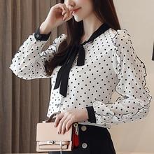 2018 winter Women Polka Dot Ruffle Blouses black bow tieTops Long Sleeves V-Neck Elegant Ladies Casual Office Shirt female 193B3