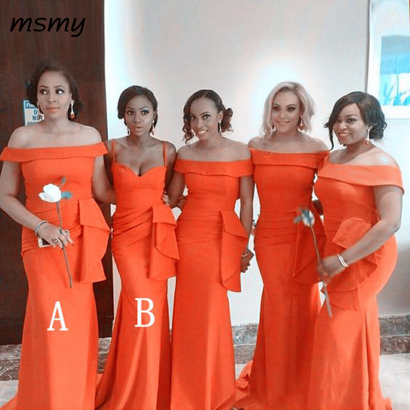 Fashion Orange Mermaid Bridesmaid Dresses 2019 Ruffles Long Boat Neck Maid Of Honor Dress Prom For Women Gowns