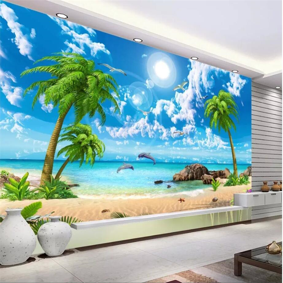 US $8 85 OFF Wellyu Custom Fresco Wallpaper 3D Mural обои Beautiful Fantasy Sea View Coconut Trees Beach Scenery Sofa Background Wall Paper Tv