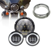DOT 7 Moto LED Headlights 75W With Bracket + 4.5 Inch Fog Lamps DRL for Harley Electra Glide Softail Fat Boy Heritage Touring