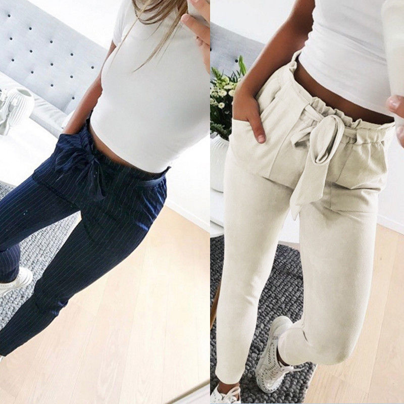 2019 Women Sexy arrival Striped Slim Skinny Casual High Waist Pencil Long Pants Trousers Flat Drawstring Bodycon Solid Pants 2
