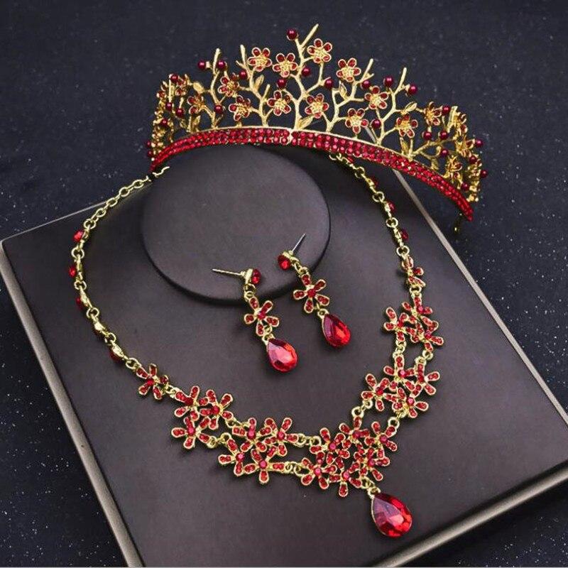 Роскошный красный со стразами бриллиантовые диадемы Для женщин комплект ювелирных издели ...