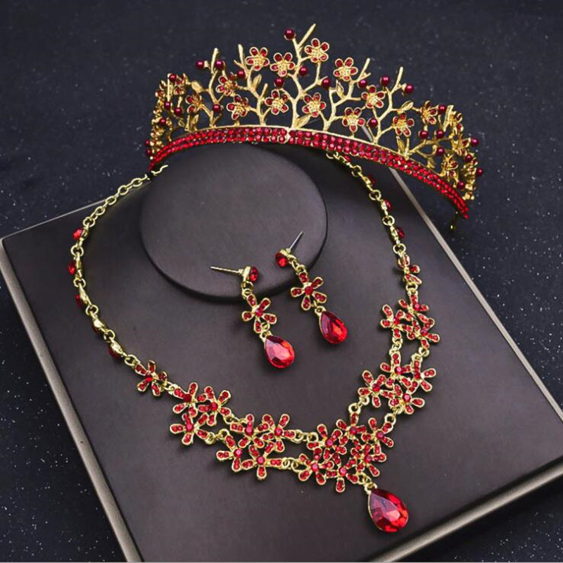 2018 Gold Alloy Pageant Wedding Hair Jewelry Set Necklace Tiaras Earrings Red Rhinestone Women Headpieces Crowns For Bride 00009 red gold bride wedding hair tiaras ancient chinese empress hair piece