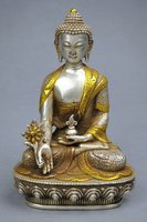 Excellent 21CM 18TH C TIBET SILVER STATUE OF MEDICINE BUDDHA 100% fast shipping copper tools wedding Decoration Brass Bronze