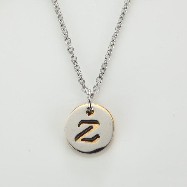 Online shop stainless steel a z letter initial disc pendant image aloadofball Image collections