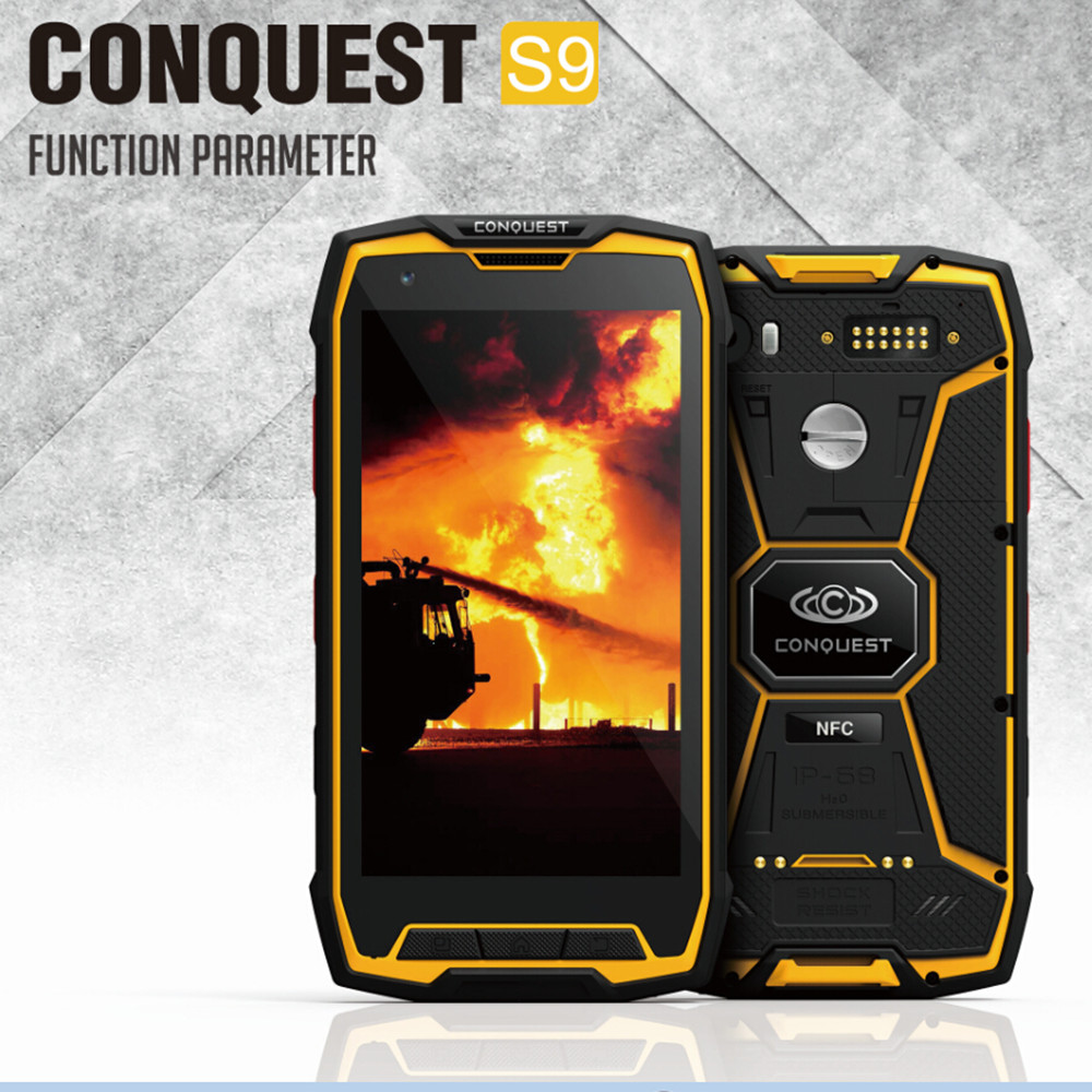 Conquest S9 Rugged Phone IP68 Waterproof Octa Core13MP NFC Glonass GPS Anadroid 5.1 LVDS Camera 6000mA S8 S6 S5